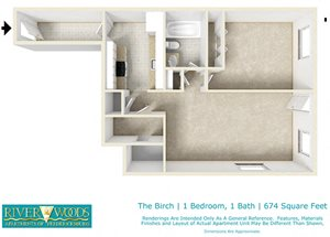 Riverwoods Apartments of Fredericksburg The Birch Floor Plan