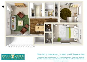 Riverwoods Apartments of Fredericksburg The Elm Floor Plan