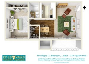 Riverwoods Apartments of Fredericksburg The Maple Floor Plan