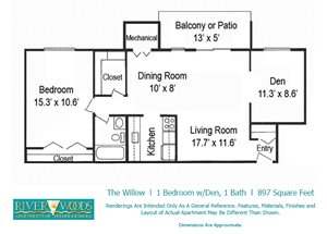 Riverwoods Apartments of Fredericksburg The Willow Floor Plan