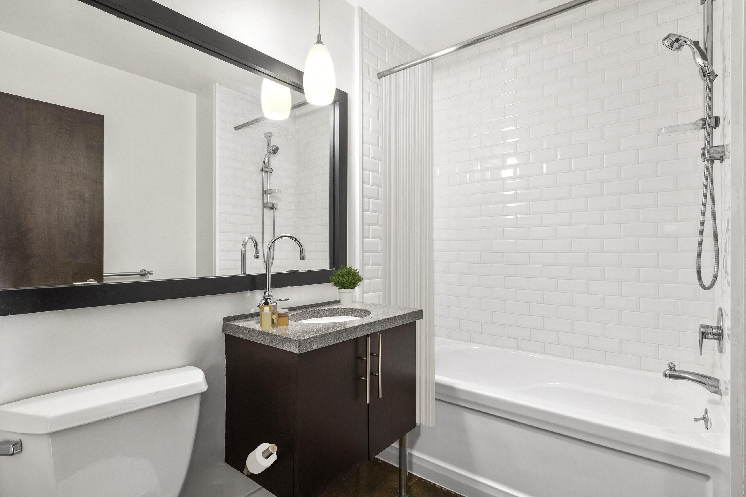 Bathroom at South Park Lofts, 818 South Grand Ave  Los Angeles, CA 90017