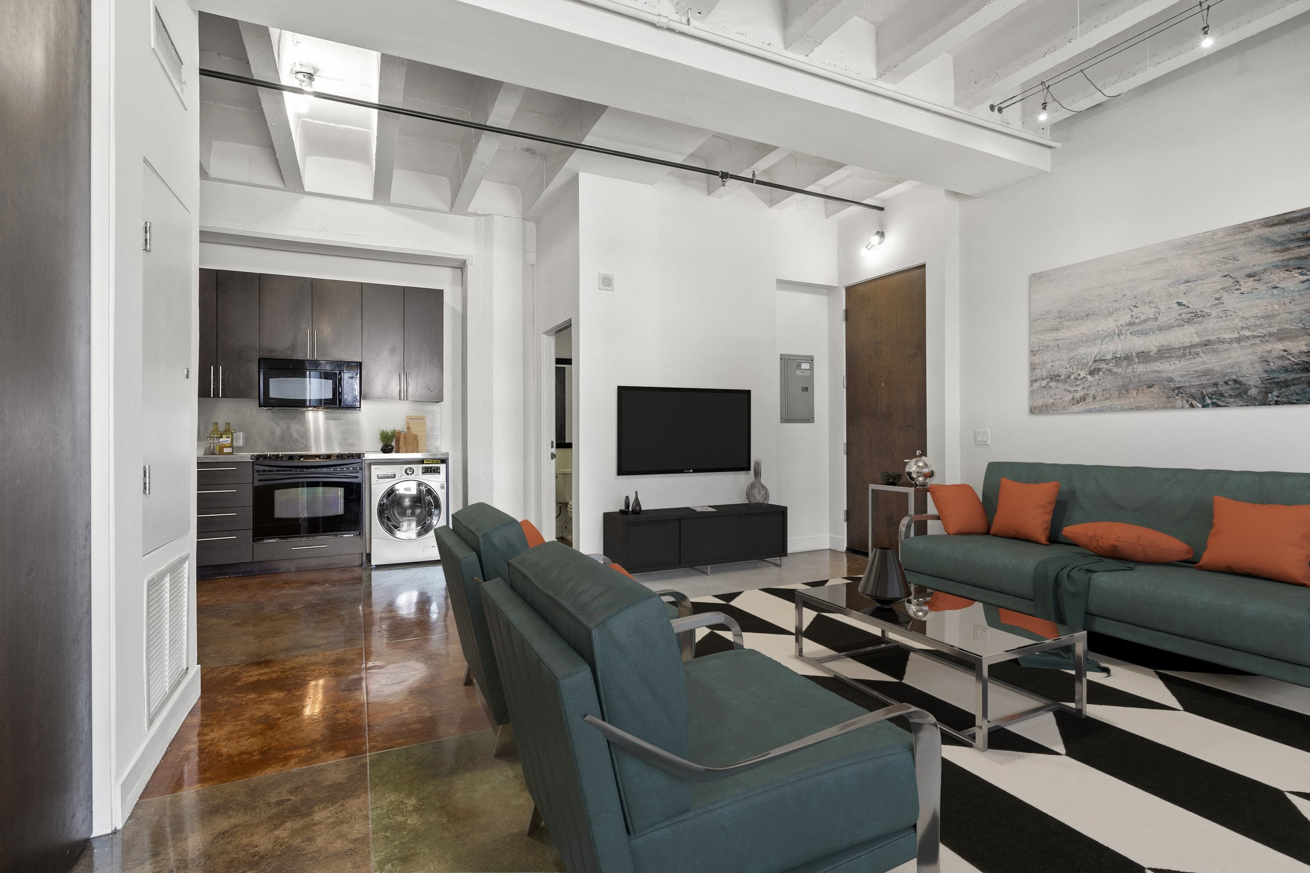 Living Area at South Park Lofts, 818 South Grand Ave  Los Angeles, CA 90017