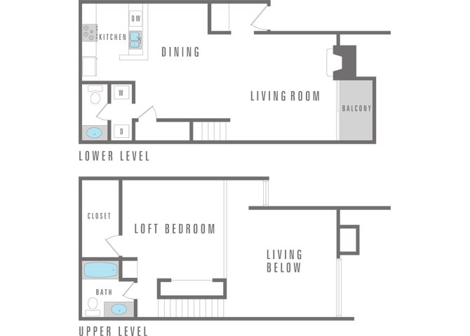 1 Bedroom 1 Bath Loft Floor Plan 5