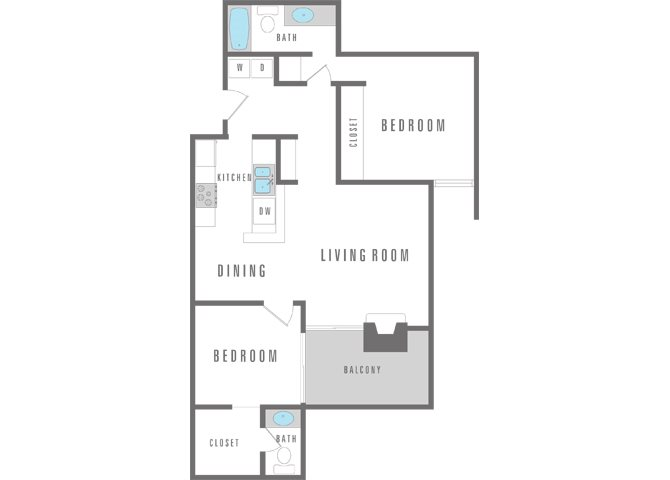 2 Bedroom 1 Bath Floor Plan 6