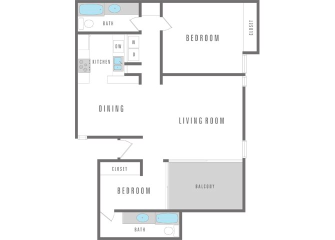 2 Bedroom 2 Bath Floor Plan 10