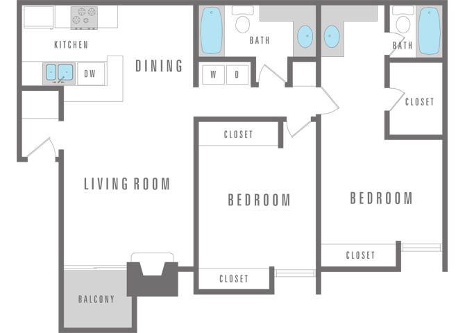 2 Bedroom 2 Bath Floor Plan 13