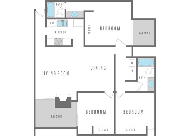 3 Bedroom 2 Bath Floor Plan 15