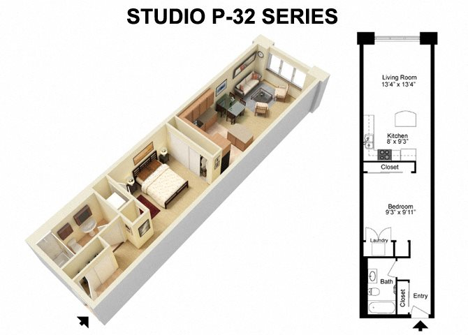 Studio - Prospect Avenue Floor Plan 1