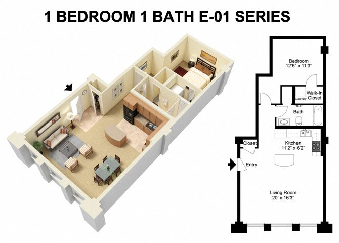 1 Bed 1 Bath - Euclid Avenue Floor Plan 2
