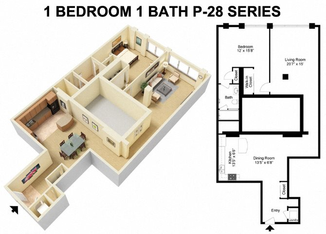 1 Bed 1 Bath - Prospect Avenue Floor Plan 3