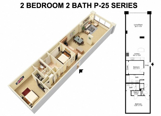 2 Bed 2 Bath - Prospect Avenue Floor Plan 4