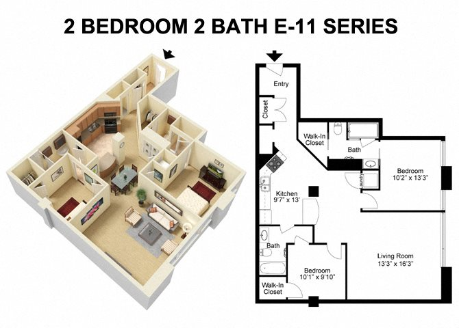 2 Bed 2 Bath - Euclid Avenue Floor Plan 5