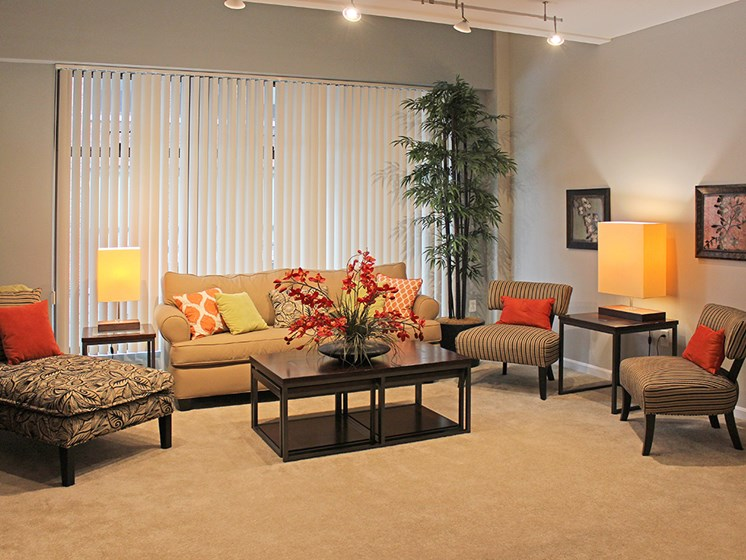 The Resideces at 668 Standard Model Living Room at The Residences at 668, Cleveland