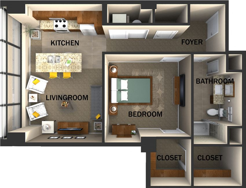 Suite Style B One Bed  One Bath FloorPlan at Residences At 1717, Cleveland, OH
