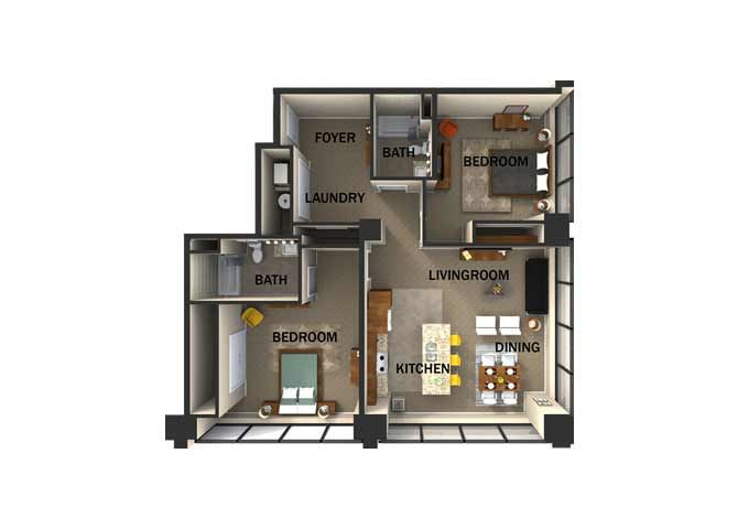 Suite Style F Two Bed  Two Bath FloorPlan at Residences At 1717, Cleveland, Ohio