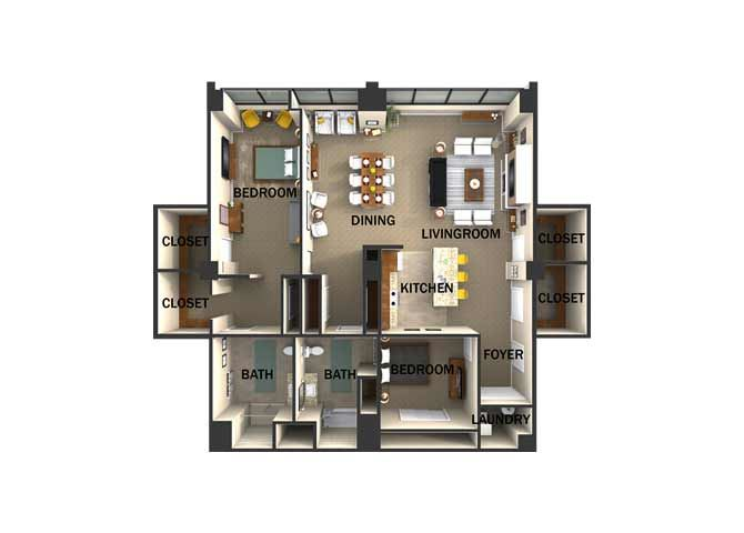 Suite Style G Two Bed  Two Bath FloorPlan at Residences At 1717, Cleveland, OH, 44114