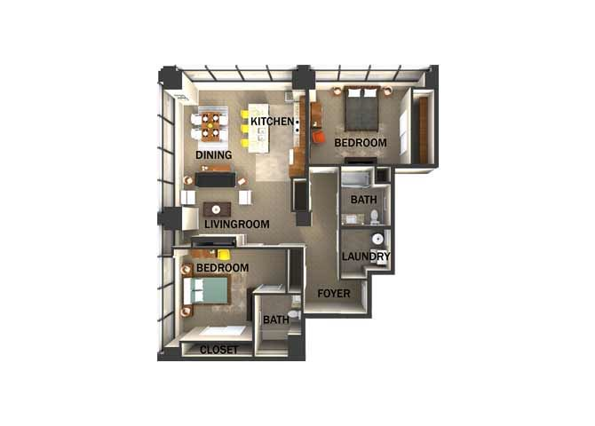 Suite Style H Two Bed  Two Bath FloorPlan at Residences At 1717, Cleveland, OH