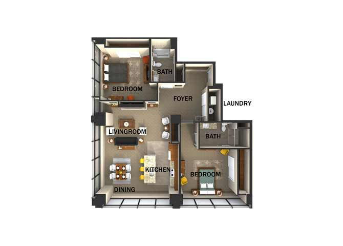 Suite Style J Two Bed  Two Bath FloorPlan at Residences At 1717, Cleveland, 44114