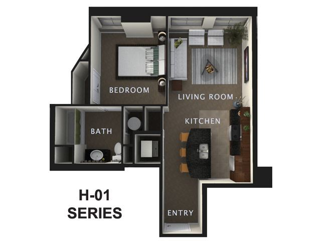 1 Bed 1 Bath A Floor Plan at The Residences At Hanna, Cleveland