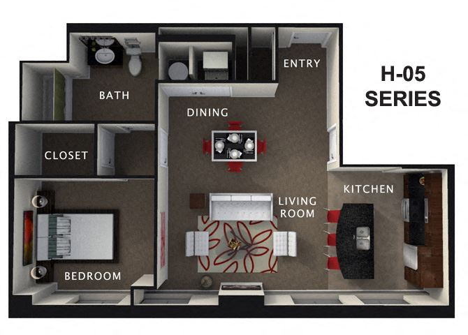 1 Bed 1 Bath Floor Plan at The Residences At Hanna, Cleveland, 44115