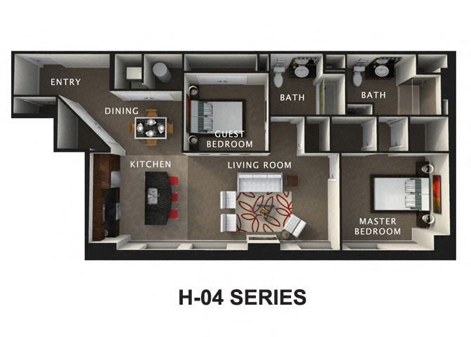 2 Bed 2 Bath Floor Plan at The Residences At Hanna, Cleveland, OH