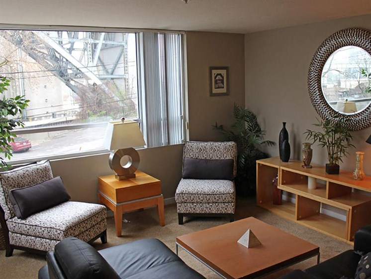 Living Room With Expansive Window at Stonebridge Waterfront, Cleveland, OH