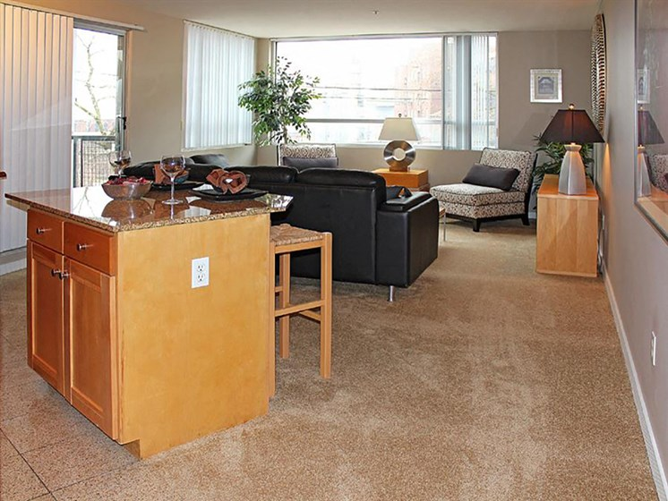 Living Room Come Dining Area at Stonebridge Waterfront, Cleveland, 44113