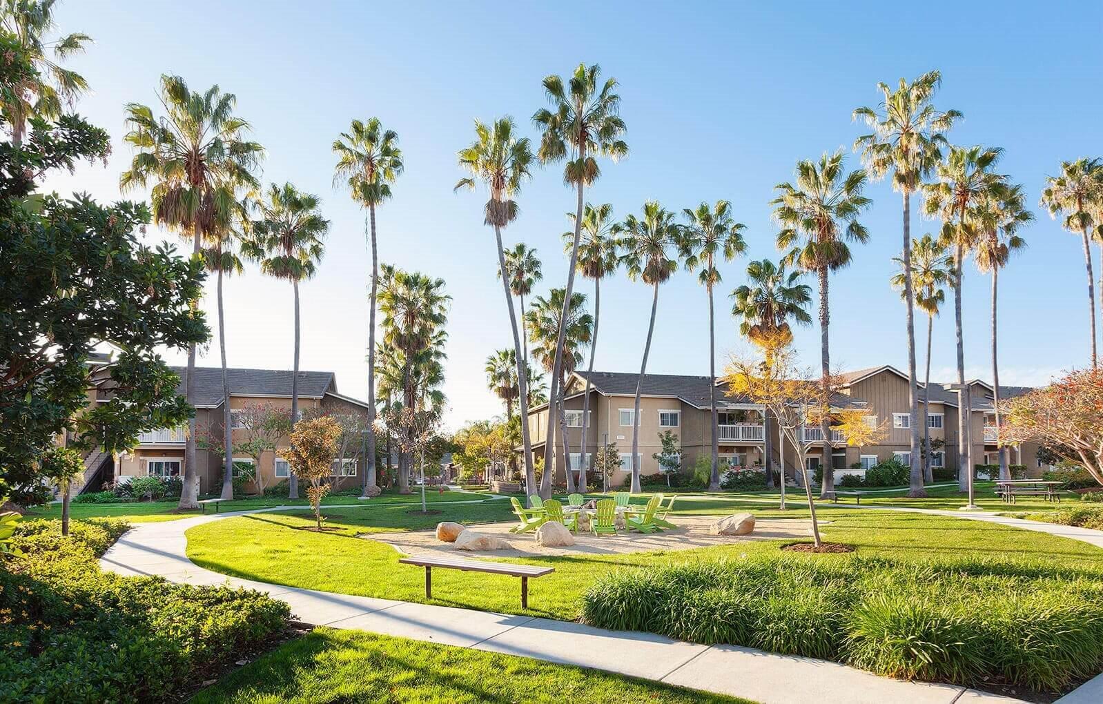 Mature trees, at Sumida Gardens Apartments, Santa Barbara, CA