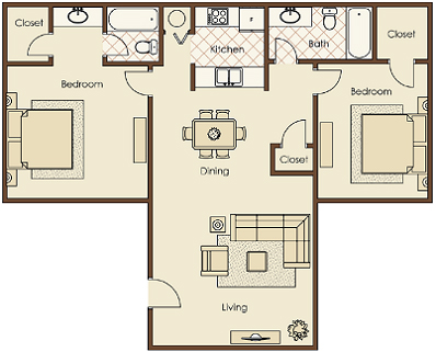 two bedroom apartments for rent. kitchen of two bedroom apartment