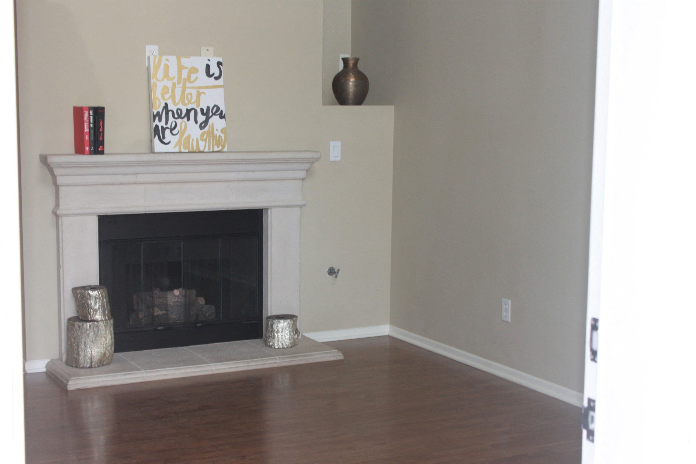 Unfurnished Living Room with Fireplace