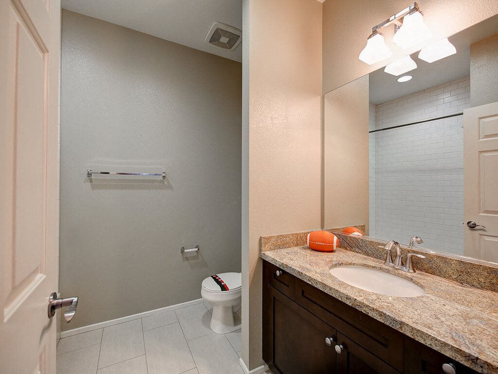 Designer Granite Countertops in all Bathrooms at Ontario Town Square Townhomes, Ontario, California