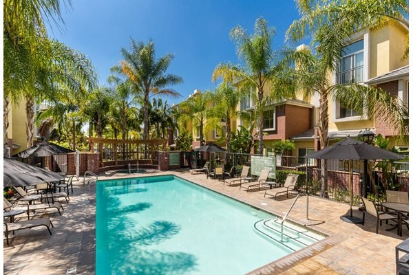 Pool Side Relaxing Area at Ontario Town Square Townhomes, Ontario CA