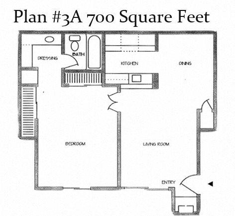 One Bedroom Plan 3A Floor Plan 4