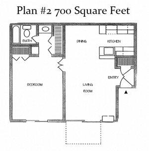 One Bedroom Plan 2