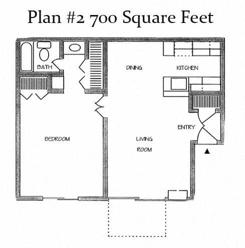 One Bedroom Plan 2 Floor Plan 3