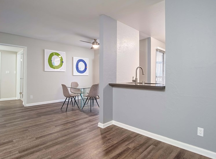 Ceiling Fan, Dinning Table in Living Room at El Patio Apartments, California