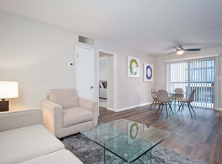 Ceiling Fan, Dinning Table and Sofa in Living Room at El Patio Apartments, California, 91207