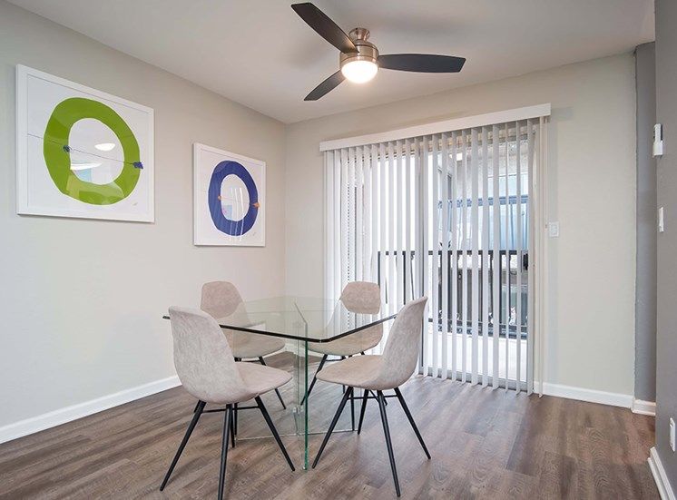Glass Window, Ceiling Fan, Dinning Table in Living Room at El Patio Apartments, Glendale, California