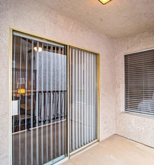 Glass Door at El Patio Apartments, Glendale, CA