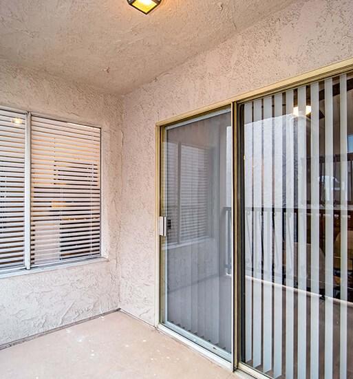 Glass Door In Living Room at El Patio Apartments, Glendale, 91207