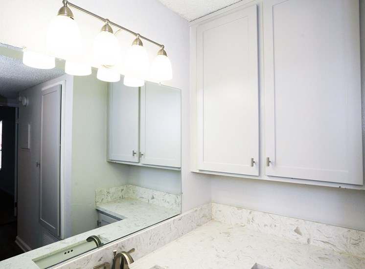 Newly renovated vanity located outside of bathroom at El Patio Apartments, Glendale, 91207
