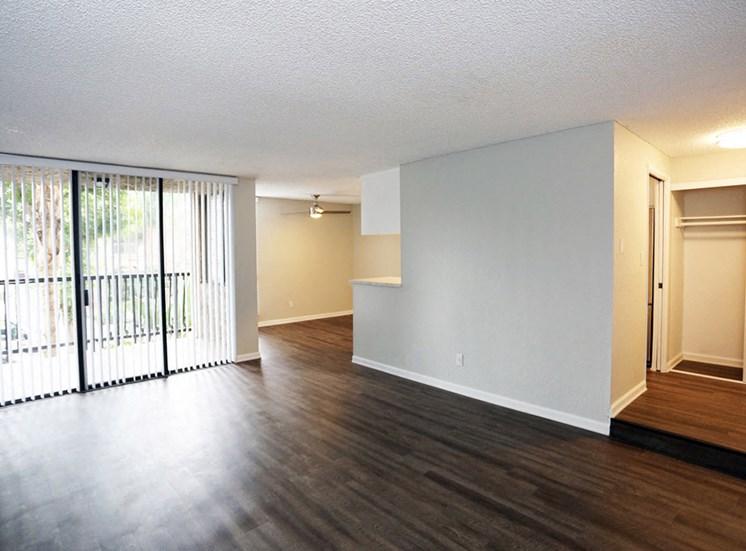 Spacious living room at El Patio Apartments, Glendale, CA