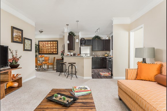 open living room kitchen and dining room waterstone at brier creek - Living Kitchen Raleigh