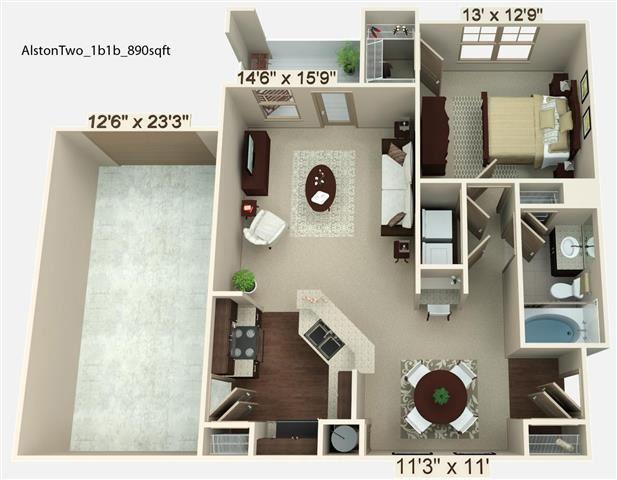 1 Bedroom 1 Bath | 890 SF