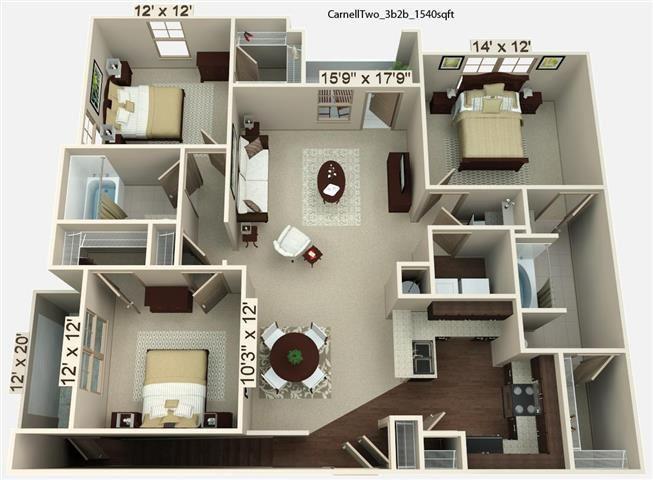 3 Bedroom | 2 Bath | 1540 SF