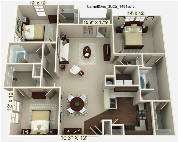 3 Bedroom | 2 Bath | 1491-1573 SF