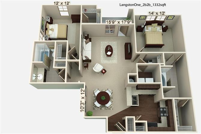 2 Bedroom | 2 Bath | 1332 SF