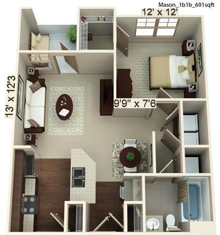 1 Bedroom 1 Bath | 691 SF