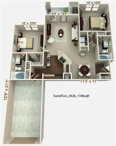 2 Bedroom | 2 Bath | 1186 SF