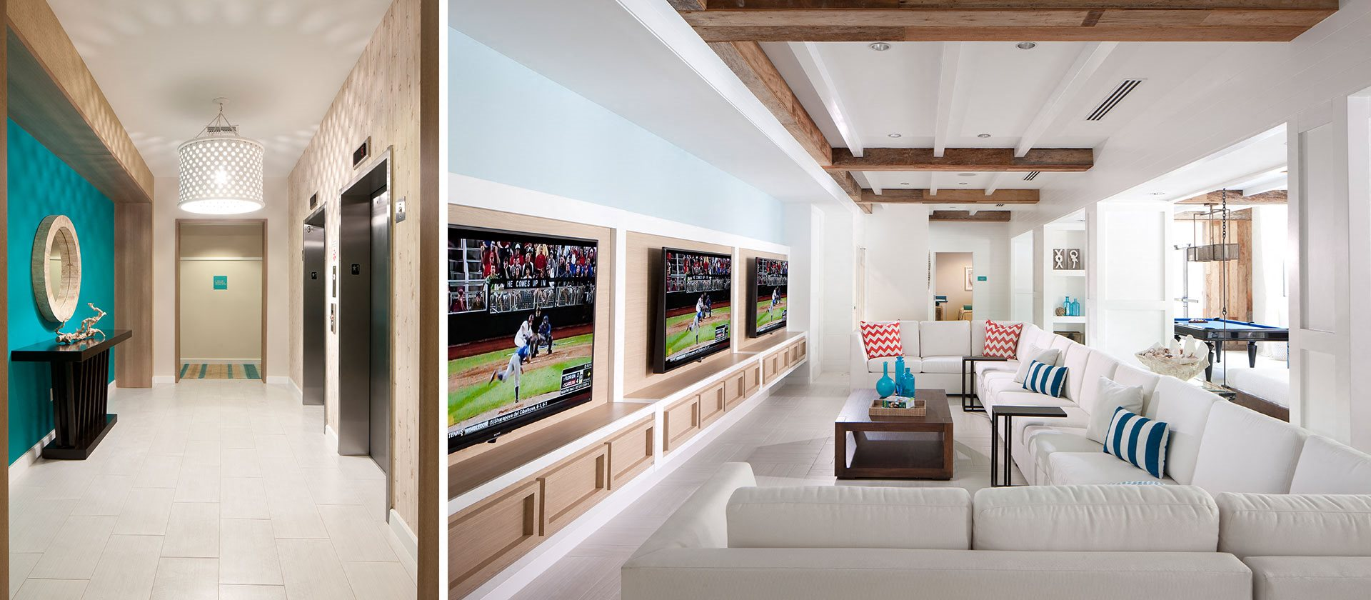 Clubhouse media room with large couch and three televisions